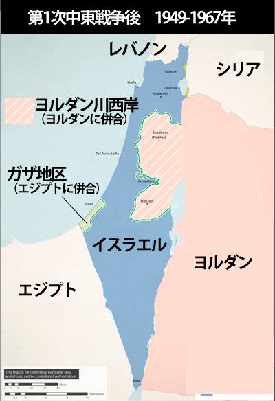 第1次中東戦争後のパレスチナ